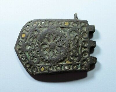 Beautiful Ancient Byzantine Bronze Buckle With Enamel Insert
