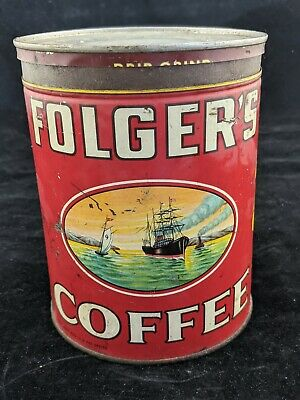 Vintage FOLGERS Coffee 2 Pound Size Tin Can Sailing Ship Design with Poppies