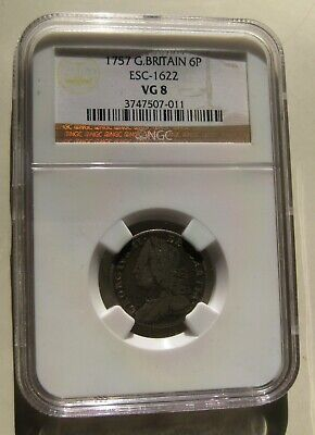 NGC Great Britain 1757 Sixpence ESC-1622 VG-8 SILVER!!!!!!