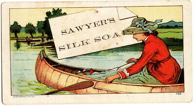 Sawyer's Silk Soap Victorian Trade Card, Lady in Canoe - Without a Paddle