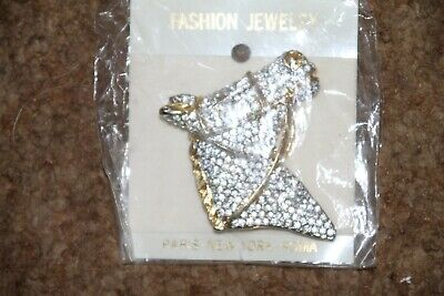 Horse Head Jeweled Lapel Pin with gold tone
