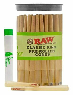 100 Pack RAW Pre-Rolled Cones Classic King Size Rolling Papers with Filter 110mm
