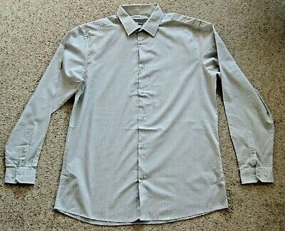 "Mens Cedar Wood State Grey Check Formal Shirt Tailored Fit 16.5"" Collar VGC"