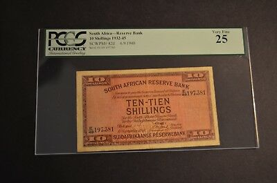 PCGS Graded South Africa-Reserve Bank Pic82d 1940 10 Shillings