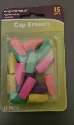 Wexford Cap Erasers 15 Pack Assorted Colors