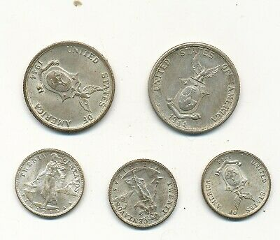 D5030  Lot Of 6 Silver 1944 Phillipine Coins Ww11  20 And 50  Au -Unc U Grade