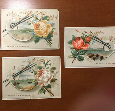 Three Antique 1890s Hackney And Johnson Full Color Advertisements