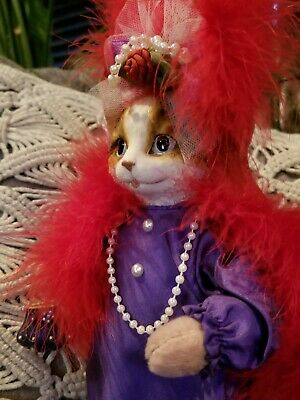 MEOW!! CAT NIP Doll by Heather Hykes - Red Hat Cat, Purple Dress & Red Boa, 12""