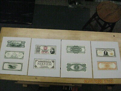 4 Mounted Reproduction Old Paper Money $1000 $500 $2 $1  ready for framing NICE!