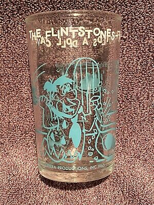 Welch's Jelly Glass 1963 FLINTSTONES Fred Builds A Doll Cave - Turquoise/Fred
