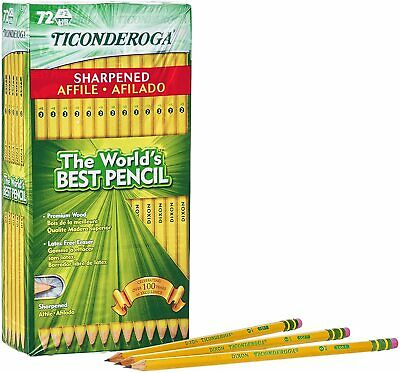 TICONDEROGA Pencils, Wood-Cased #2 HB Soft, Pre-Sharpened with Eraser, Yellow