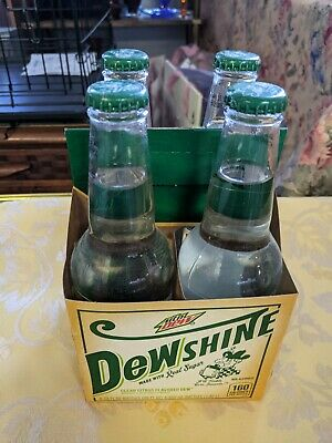 Mountain Dew Dew Shine Dewshine four pack glass bottles full new 12 oz carton