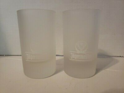 Jagermeister Frosted Shot Glasses Tall, Set of 2 Stag Logo Pair, 1oz, 4cl New