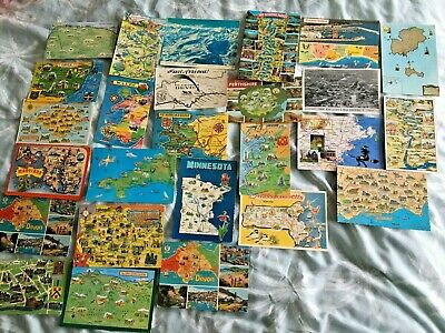26 x vintage MAP POSTCARDS some unusual ones