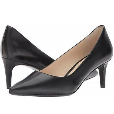 Nine West Women/'s Soho Pointed Toe Classic Pumps Black Leather MSRP $89