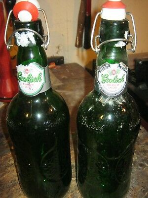 2 green Grolsch Beer Bottles