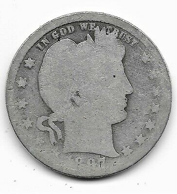 1897 O Barber Silver Quarter - lower mintage - About Good condition