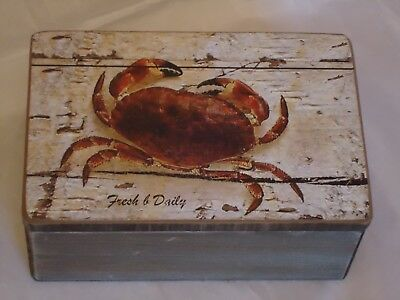 Sea Crab Wooden Box Treasure Chest- Picture / Shell Fish / Nautical / Trinket