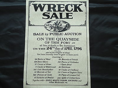Ship Wreck Sale Poster 1796 Large Pub Picture Sign - Bar Beer whiskey Gin Rum
