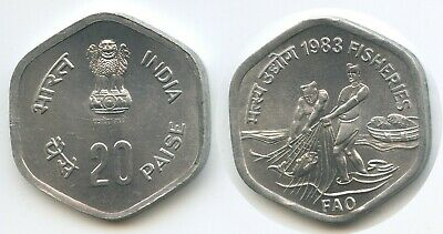 G11955 - India 20 Paise 1983 KM#46 UNC World Food Day Fisheries Indien