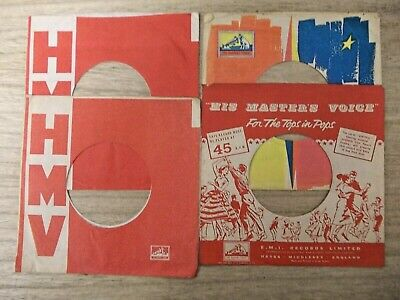 "4 Original Hmv 7"" Company Record Sleeves"
