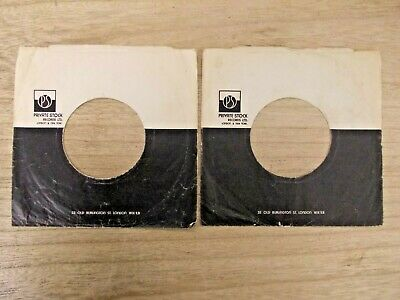 "2 Original PRIVATE STOCK 7"" company record sleeves"