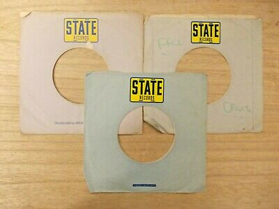 "3 Original State 7"" Company Record Sleeves"