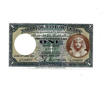 Vintage Egyptian Bank Note  One Pound  12Th June 1943