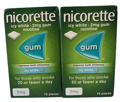 NICORETTE ICY WHITE 2mg GUM X 150 Pieces STOP SMOKING REDUCE THE CRAVINGS 🚭🚬