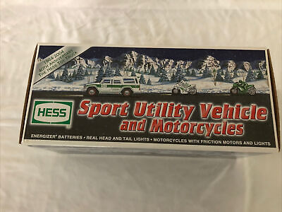 Hess 2004 Sport Utility Vehicle and Motorcycles Brand New In Box.