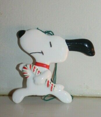 Vintage 1960s Schulz Peanuts Ceramic Snoopy Candy Cane Christmas Ornament