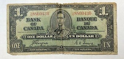 Canada 1 dollar note 1937 S/N series Coyne-Towers bill