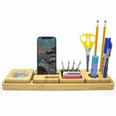 Luvberries - Bamboo Desk Organizer With Tray, For Home Work Office, Storage