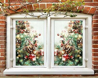Details about  /3D Light O370 Christmas Window Film Print Sticker Cling Stained Glass Xmas Fa