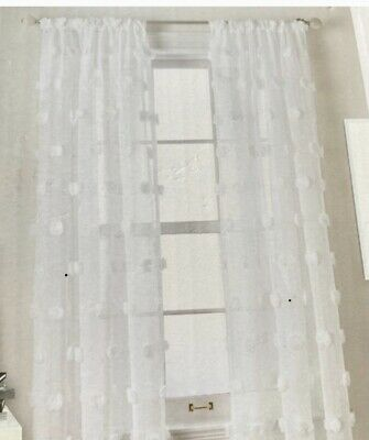"""2 DKNY White SNOWBALL Window DRAPES CURTAINS SHEERS 50/""""x96/"""" Rod Pole Top PAIR"""