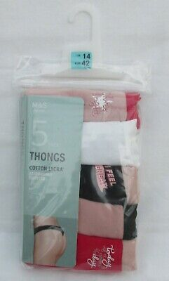 BNIP M/&S 5 pack of multi coloured pink mix cotton lycra low rise shorts 18