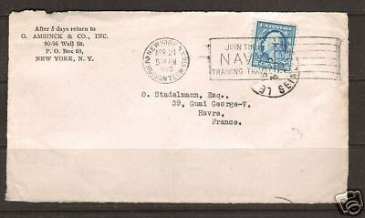 US Sc 504 perfin 'G/A' on 1920 cover front to France
