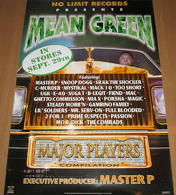 MEAN GREEN Major Players, No Limit/Priority promo poster, 1998, 24x36,EX,hip-hop