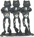 4 wholesale pewter 3 frog incense holders E5078