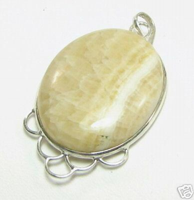 Stunning Genuine Yellow Agate Gemstone Oval Pendant   AGN10