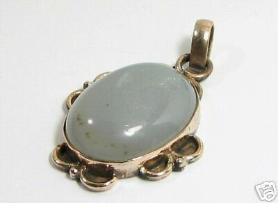 Solid Copper Genuine African Gray Agate Gemstone Pendant AGN65