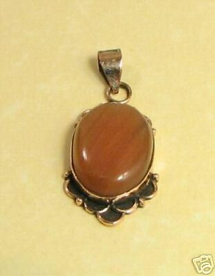 Pure Solid Copper African Fire Agate Pendant    AGN78