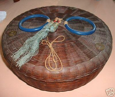 Sewing Basket, Victorian, Wicker, Chinesse 1900's Beads