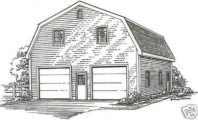 30 x 40 2 car gambrel style garage building plans with for 28x36 garage