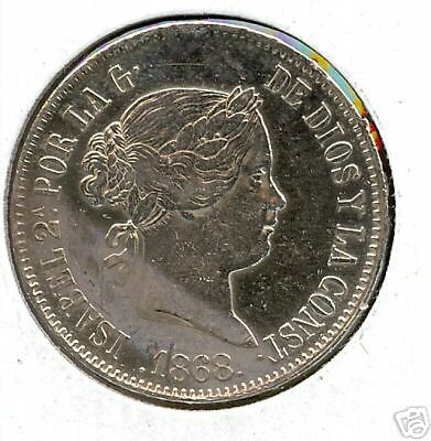 Philippines 1868 50 Centimos Ef Cleaned + Km#147