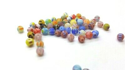 100 pieces 4mm Millefiori Glass Round Beads - Mixed - A5036