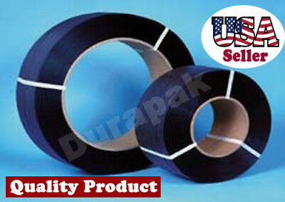 """1/2"""" 7200 Ft 600 lbs 8x8 Core Hand Poly Strapping Coil Black Binding Packaging"""