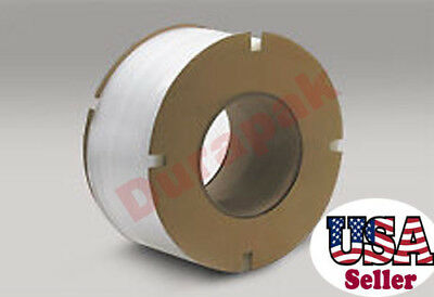 "3/8"" 12900 300 lb 8x8"" Core Machine Poly Strapping Coil White Secure Carton"