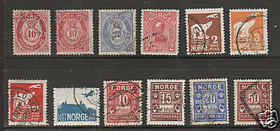 Norway Sc 25/J6 used 1877-1934 issues, 12 diff. F-VF