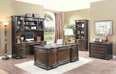 Wood 3 Piece Executive Office Desk Credenza U0026 Hutch